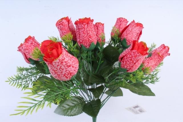 Искусственное растение -  Бутоны роз мраморные с золотом красные Б10289
