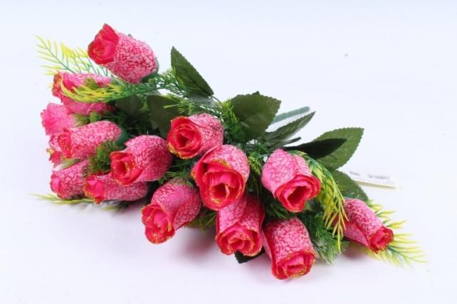 Искусственное растение -  Бутоны роз мраморные с золотом малиновые Б10289