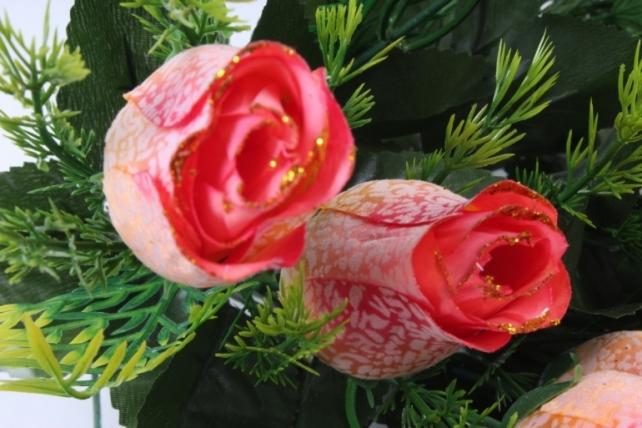 Искусственное растение -  Бутоны роз мраморные с золотом персиковые Б10289