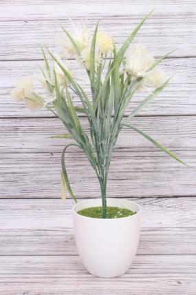 Искусственное растение -  Чертополох в осоке 40 см белый