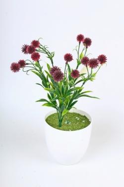 Искусственное растение -  Цветочки-шарики бордо