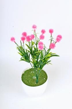Искусственное растение -  Цветочки-шарики малиновые