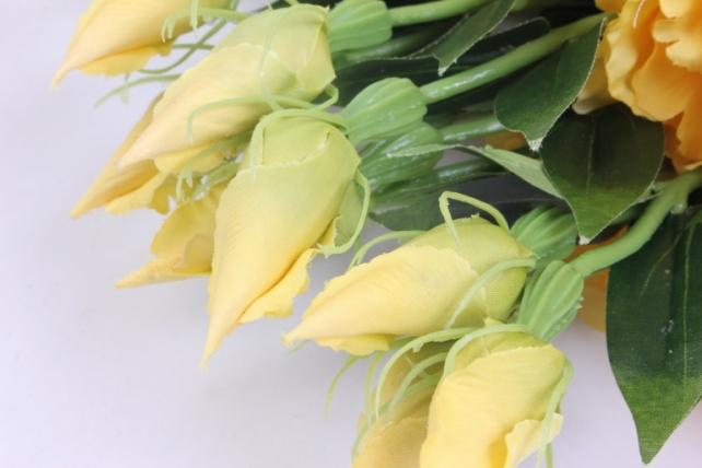 искусственное растение - цветок эустомы (12 шт в уп) жёлтый 45 см sun357