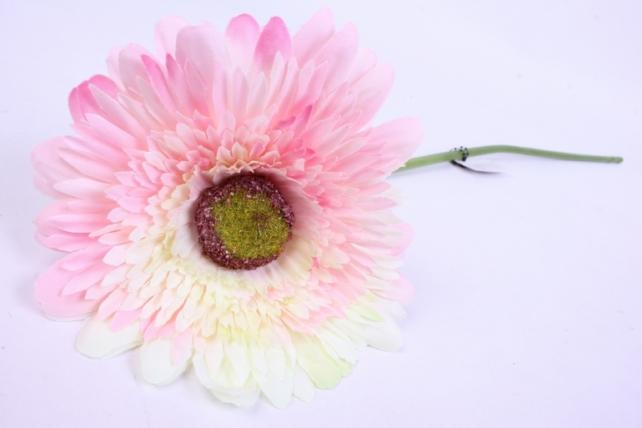 Искусственное растение - Цветок Герберы 60 см Розово-белый SUN348