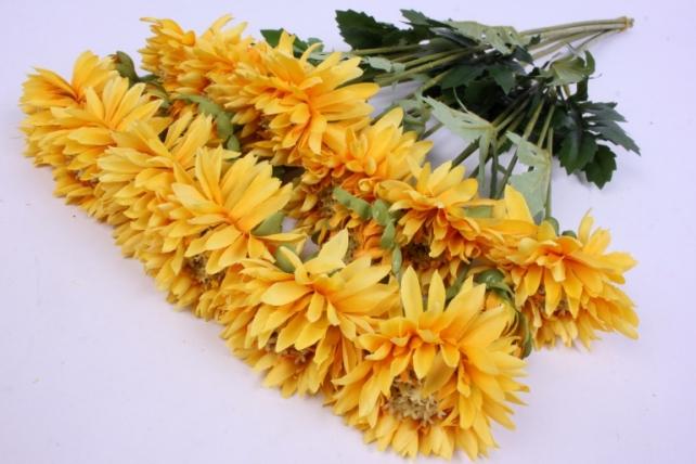 Искусственное растение - Цветок Хризантемы (6 шт в уп) 55 см Жёлтый SUN469