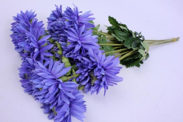 Искусственное растение - Цветок Хризантемы (6 шт в уп) 55 см Синий SUN469