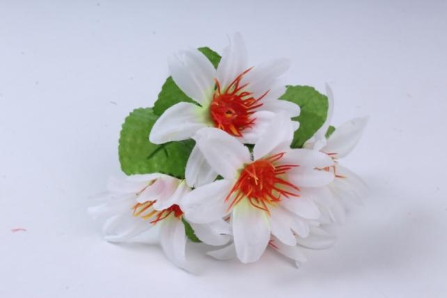искусственное растение - цветы яркие 20 см белые