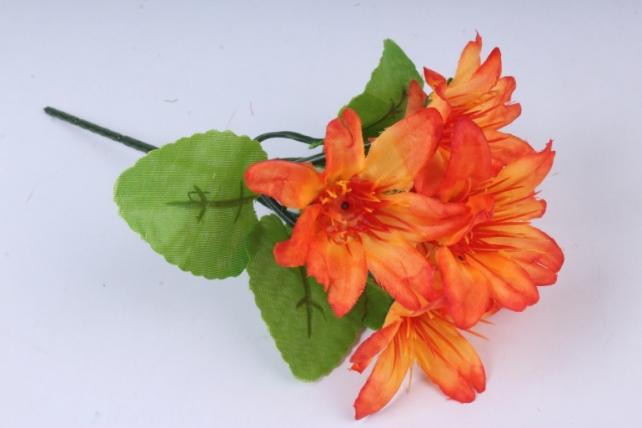 Искусственное растение - Цветы яркие 20 см оранжевые