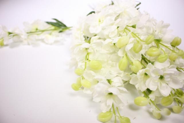 искусственное растение - дельфиниум 40см белый  (12 шт в уп) sun476