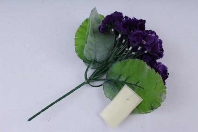 искусственное растение - фиалки махровые фиолетовые