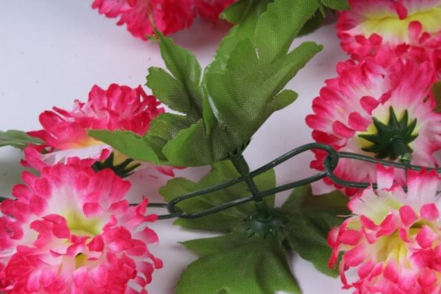 искусственное растение - гирлянда с цветами бело-розовыми 2м