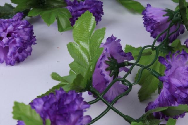 искусственное растение - гирлянда с цветами фиолетовыми 2м