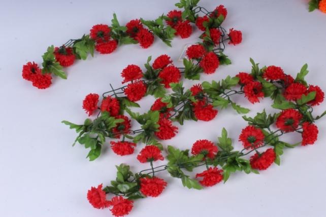 Искусственное растение - Гирлянда с цветами красными 2м