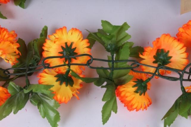 искусственное растение - гирлянда с цветами оранжевый неон 2м