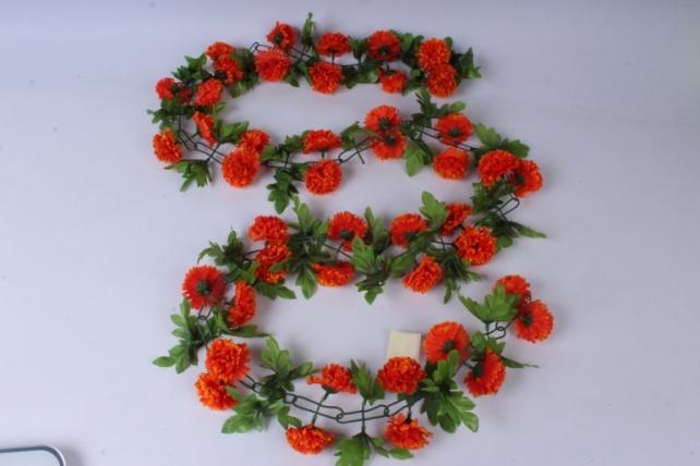 искусственное растение - гирлянда с цветами оранжевыми 2м