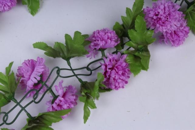 искусственное растение - гирлянда с цветами сиреневыми 2м