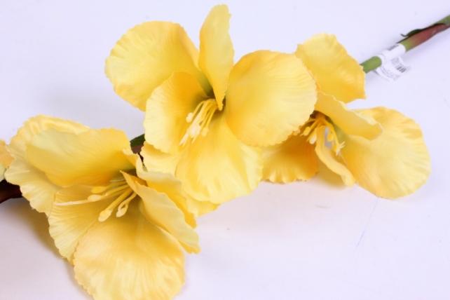 искусственное растение - гладиолус 85 см жёлтый sun367