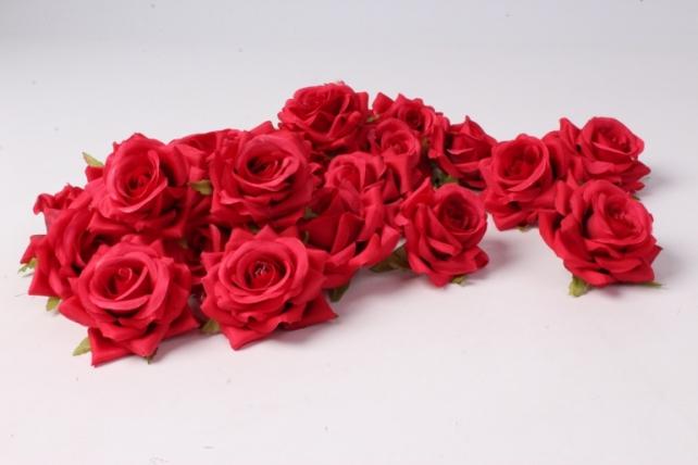 искусственное растение - головка розы красные ( в уп. 24 шт)  d=5см   art117