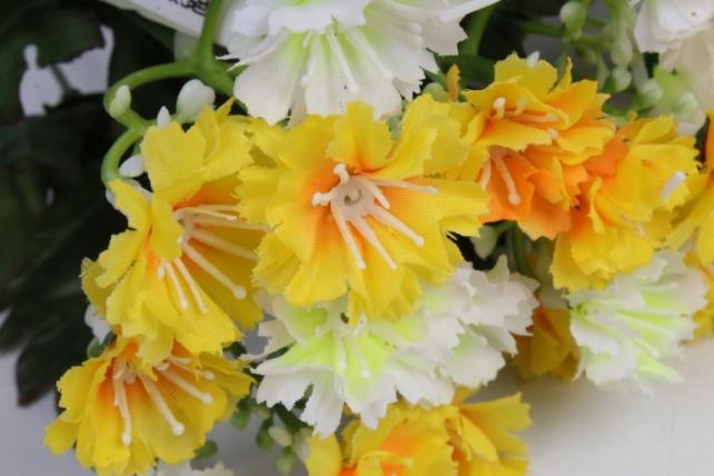 искусственное растение - гвоздички бело-жёлтые 30 см