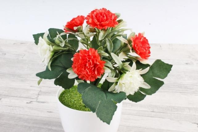 Искусственное растение -  Гвоздички в розетке бело-оранжевые