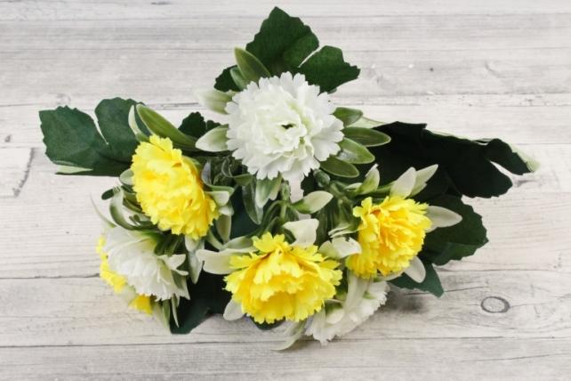 Искусственное растение -  Гвоздички в розетке жёлто-белые