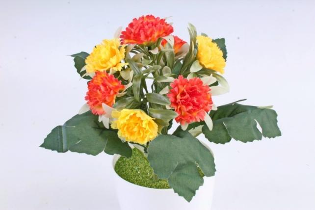 Искусственное растение -  Гвоздички в розетке жёлто-оранжевые