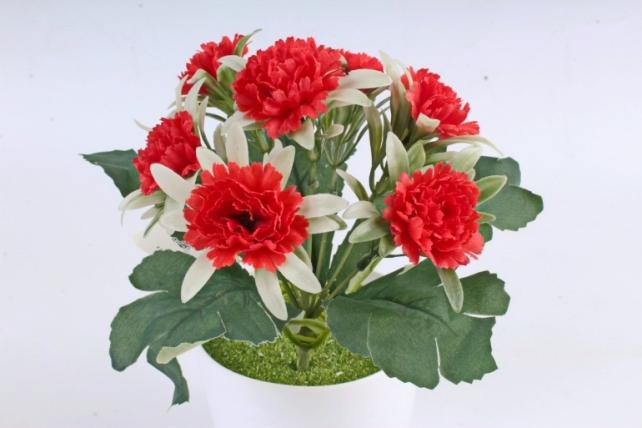 Искусственное растение -  Гвоздички в розетке красные