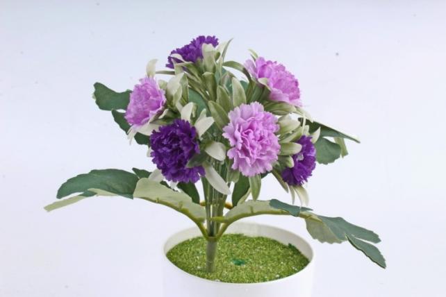 Искусственное растение -  Гвоздички в розетке сиренево-фиолетовые
