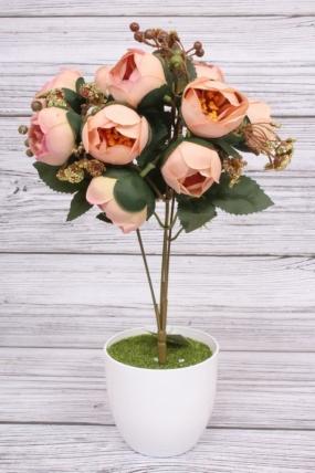 Искусственное растение -  Камелия с ягодами черёмухи персиковая. 36 см.