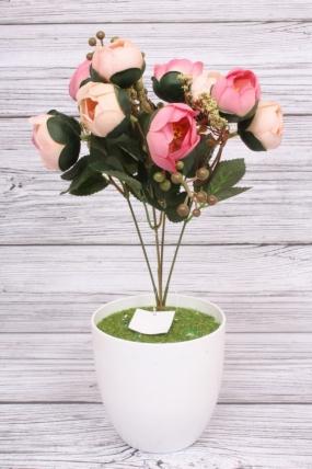 Искусственное растение -  Камелия с ягодами черёмухи пудрово-розовая. 36 см.