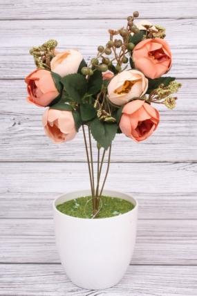 Искусственное растение -  Камелия с ягодами черёмухи розово-коралловая. 36 см.