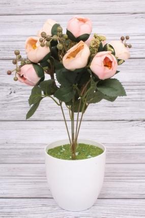 Искусственное растение -  Камелия с ягодами черёмухи светло-розовая. 36 см.