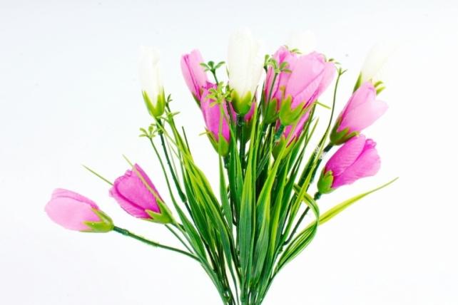Искусственное растение -  Крокусы с осокой бело-сиреневые