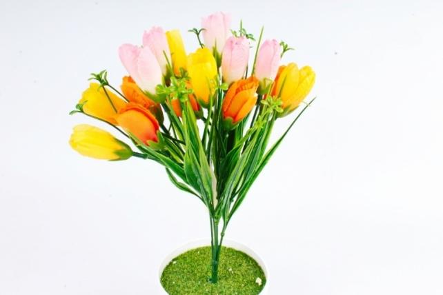 Искусственное растение -  Крокусы с осокой микс