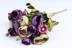Искусственное растение -  Купальница с примулой салатово-фиолетовая (Т)