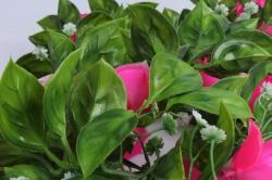 искусственное растение - лиана с розами фуксия