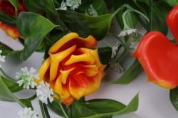 искусственное растение - лиана с розами оранжевыми