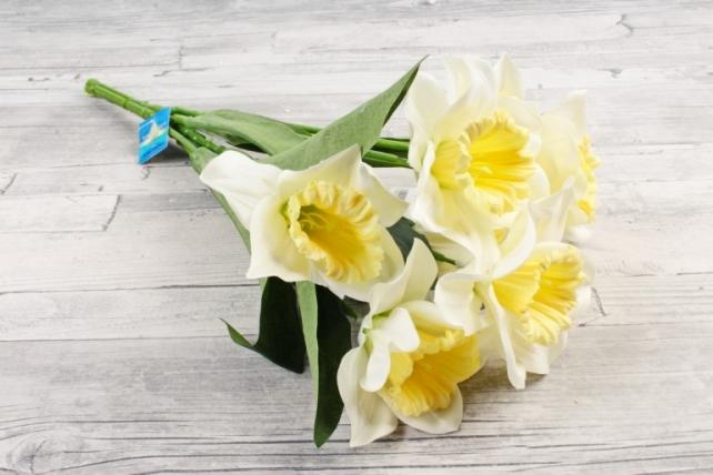 Искусственное растение -  Нарцисс гигант   бело-жёлтый