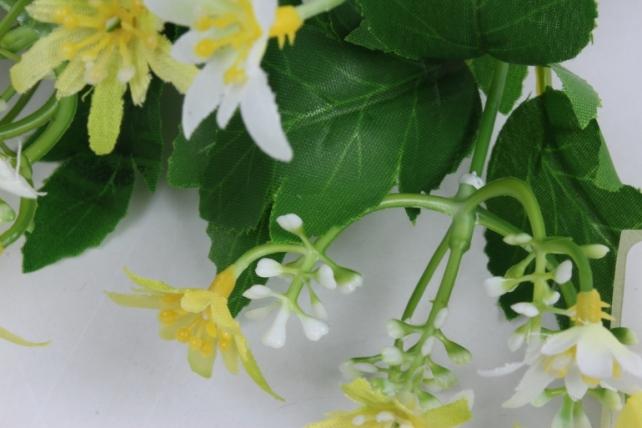 искусственное растение - ночная фиалка бело-жёлтая h=30cm