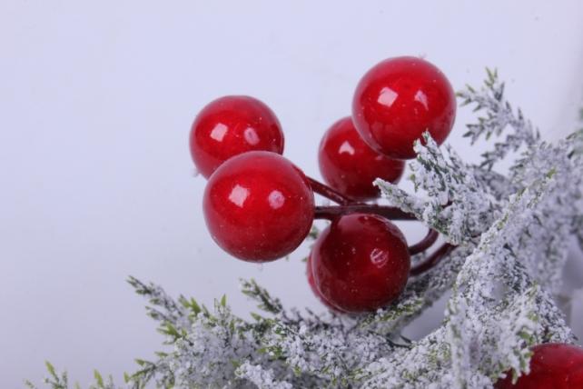 искусственное растение - новогодняя ветка с ягодками 25см  т124