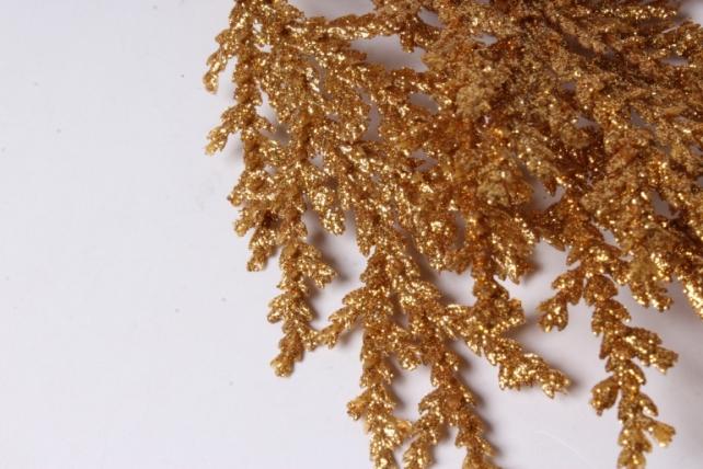 искусственное растение - новогодняя ветка золото 25см  1763