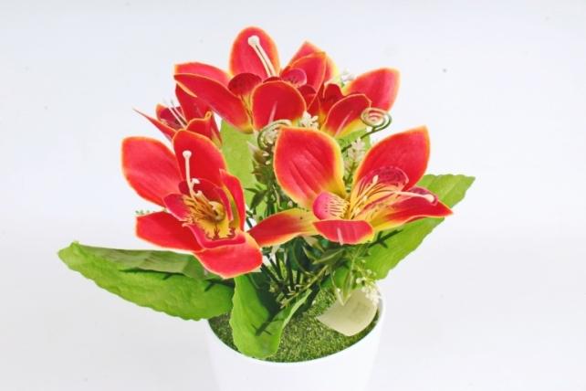 Искусственное растение -  Орхидея в розетке алая Б10713