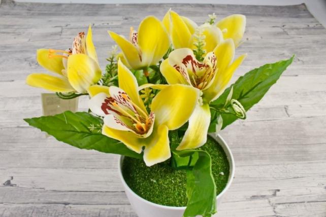 Искусственное растение -  Орхидея в розетке жёлтая Б10713