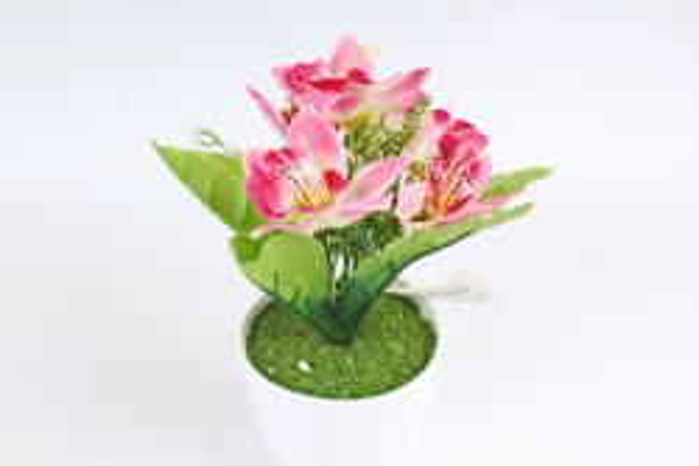 Искусственное растение -  Орхидея в розетке ярко-розовая Б10713
