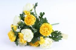 Искусственное растение - Пионы кустовые бело-жёлтые