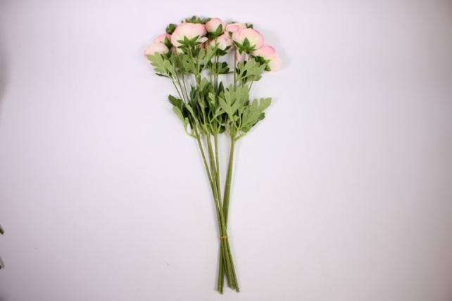 искусственное растение - ранункулюс 45см розово-салатовый ( 6 штв уп) san449