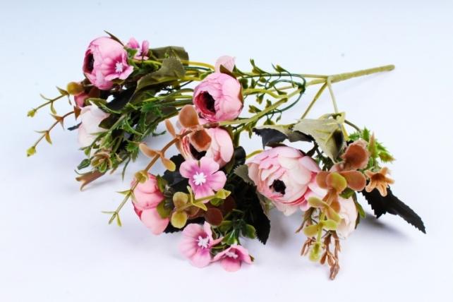 Искусственное растение -  Ранункулюс бело-розовый  (Т)