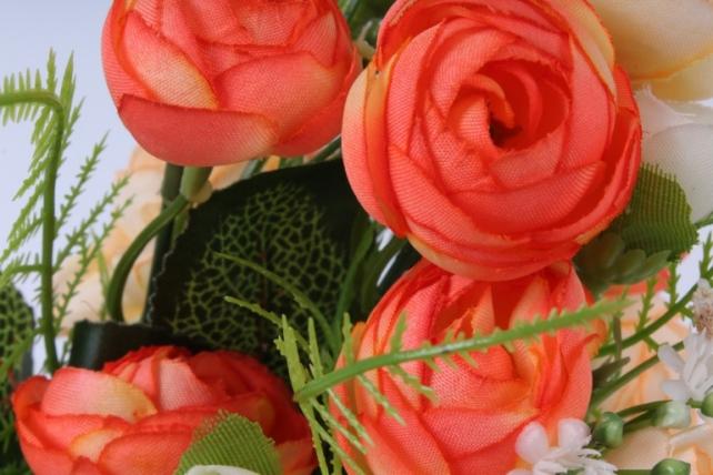 искусственное растение - ранункулюс персиково-оранжевый h=30cm