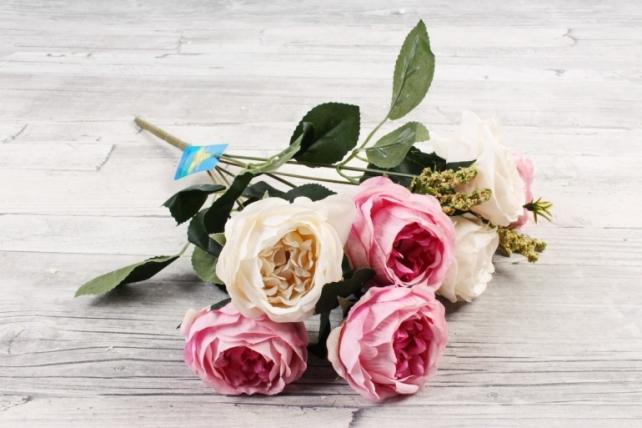 Искусственное растение -  Ранункулюс пионовидный бело-розовый