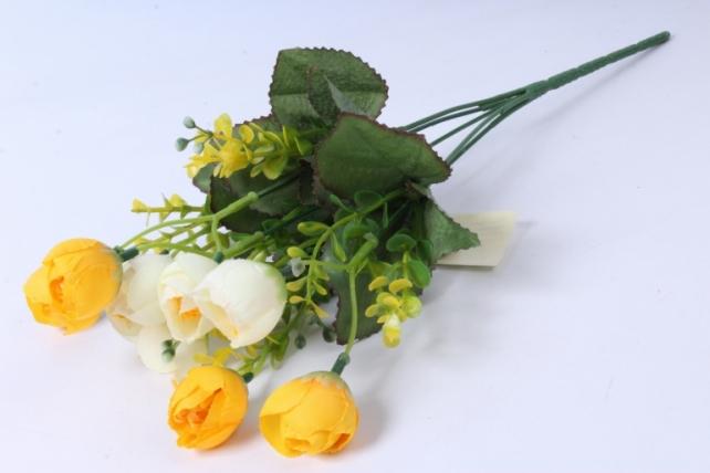Искусственное растение - Ранункулюс с бересклетом бело-жёлтый 30cm